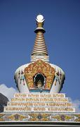 stupa on blue sky, annapurna, nepal - stock photo