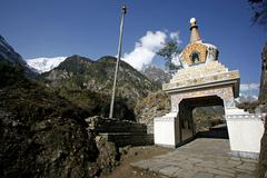 Buddhist monastery, annapurna, nepal Stock Photos