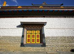 monastery wall and window, upper pisang, annapurna, nepal - stock photo
