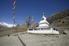 buddhist monastery, annapurna, nepal - stock photo