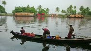 ALLEPPEY, KERALA, INDIA - MARCH 2013: Local people travelling in boat in Kerala Stock Footage