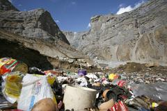 litter near lodge on the annapurna circuit, nepal - stock photo