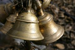 Temple bells in muktinath, annapurna, nepal Stock Photos