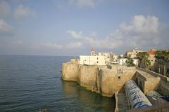 Church on fortified wall in akko old town israel Stock Photos