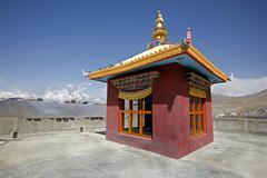 tibetan monastery in muktinath, annapurna circuit, nepal - stock photo