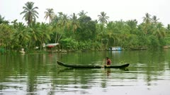 ALLEPPEY, KERALA, INDIA - MARCH 2013: Everyday scene in Kerala Backwaters with Stock Footage