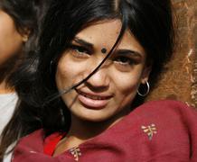 young nepali woman, annapurna, nepal - stock photo
