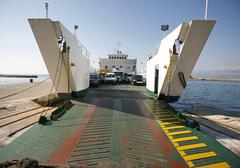 Car ferry boat in croatia linking the islands to mainland Stock Photos
