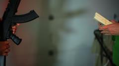 Underground gun deal Stock Footage