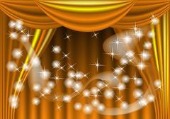 Yellow theater draped curtain Stock Illustration