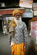 Old bearded man at market, delhi, india Stock Photos