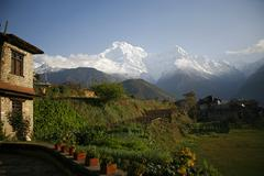View of the annapurnas from gandruk, nepal Stock Photos