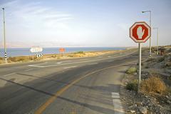 stop sign in the dead sea region - stock photo