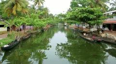 Everyday scene in Kerala Backwaters Stock Footage