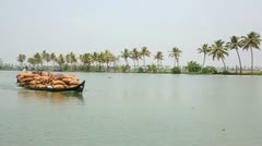 ALLEPPEY, KERALA, INDIA - MARCH 2013: Everyday scene in Kerala Backwaters with - stock footage