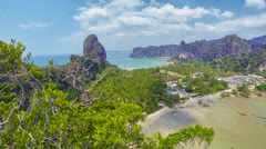 View of the sea bay with mountain views. thailand, krabi Stock Footage