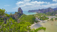 Stock Video Footage of view of the sea bay with mountain views. thailand, krabi