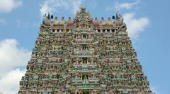 Ornate facade of Hindu temple in low angle Stock Footage