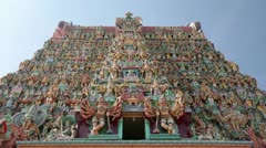 Ornate facade of Hindu temple in detail Stock Footage