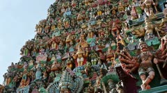 Ornate facade of Hindu temple in detail - stock footage