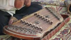 dulcimer, stringed percussion music instrument - stock footage