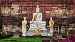 Buddha in wat yai chaimongkhon. thailand, ayutthaya Stock Footage