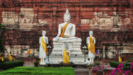 Stock Video Footage of buddha in wat yai chaimongkhon. thailand, ayutthaya