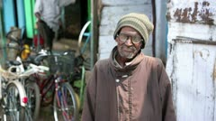 OOTY, TAMIL NADU, INDIA - MARCH 2013: Portrait of senior local man Stock Footage