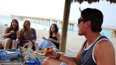 Beach Pizza Party 1080p HD - stock footage