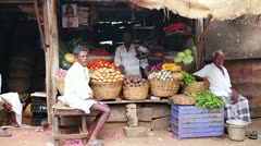 OOTY, TAMIL NADU, INDIA - MARCH 2013: Portrait of local market vendors Stock Footage