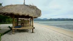 Hut on beach Stock Footage