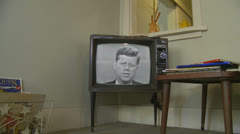 Kennedy vs. Nixon - 1st 1960 Debate (1) 1960's archival news on old television - stock footage