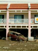 Pickup truck after tsunami in khao lak, thailand Stock Photos