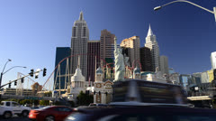 Las Vegas, The Strip, New York New York Hotel Stock Footage