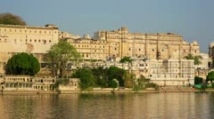 Magnificent view of Udaipur, Rajasthan rising from above water - stock footage