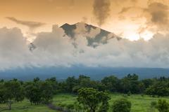 gunung agung volcano in bali - stock photo