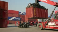 Stock Video Footage of IZMIR, TURKEY - JANUARY 2013: Moving freight containers in the docks of Izmir
