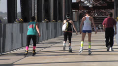 Roller Blading Clinton Bridge, Little Rock, Arkansas - stock footage