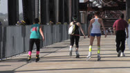 Stock Video Footage of Roller Blading Clinton Bridge, Little Rock, Arkansas