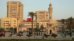 IZMIR, TURKEY - JANUARY 2013: Everyday scene on city square Stock Footage