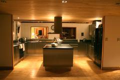Modern kitchen at night Stock Photos