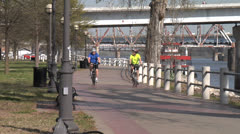 Cycling On Arkansas River Trail - stock footage