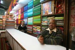 Inside the fabric showroom, delhi, india Stock Photos