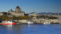 Canada, Quebec City, Vieux Quebec or Old Quebec across Saint Lawrence River Stock Footage