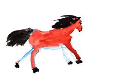 child's painting - galloping horse - stock illustration