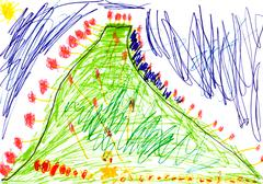 Child's drawing - green mount Stock Illustration
