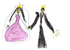 child's drawing - prince with princess - stock illustration