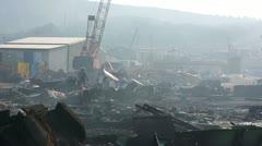 Industrial scrapyard next to Izmir port Stock Footage