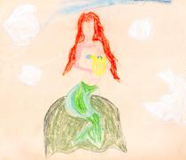 Child's paiting - siren on the rock Stock Illustration