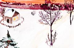 child's paiting - winter country landscape - stock illustration